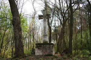 Кам'яний хрест, який українці з Тенятиськів поставили в центрі села як «Пам'ятку освобожденія 3 мая 1848», сьогодні стоїть серед лісу. Фото автора статті