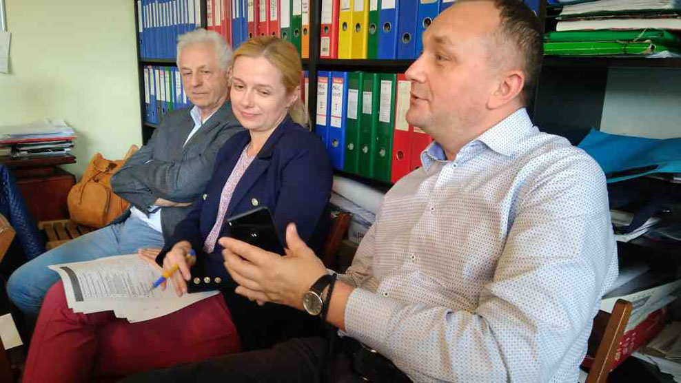▲ Зліва направо: Стефан Дембіцький, Оксана Кравчишин і Мирослав Притула